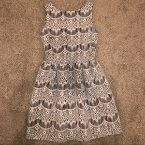 black and white lace detail dress